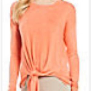 Westbound Sweaters - Westbound Petites, PXL peach 🍑 crew knit side tie